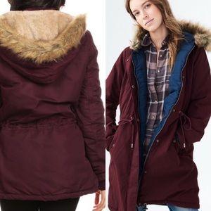 Fur Parka statement women's jacket wine red